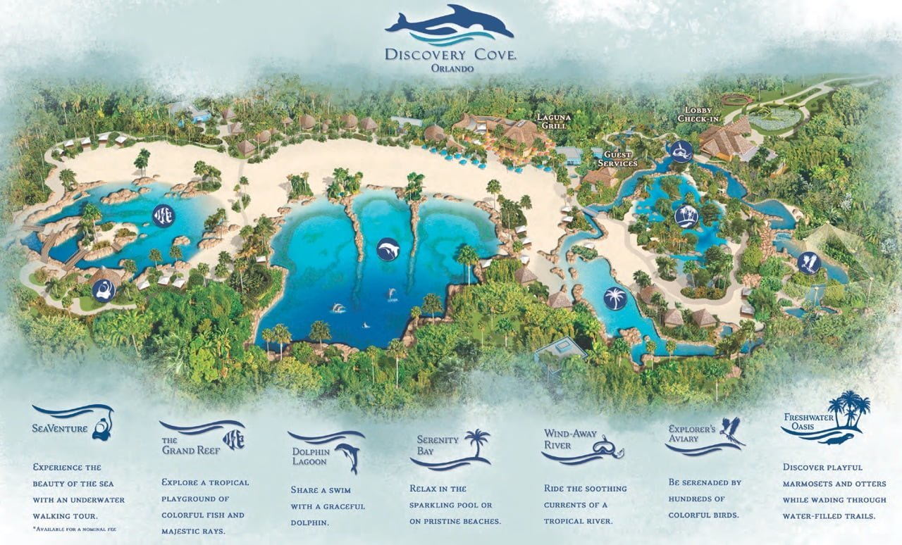 Map of Discovery Cove Orlando