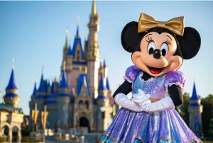 Minnie Mouse in her new 50th anniversary celebration outfit