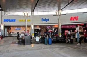 Image of car hire desks at airport