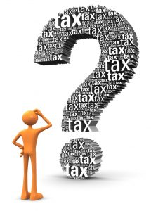 Image graphic of man confused by tax